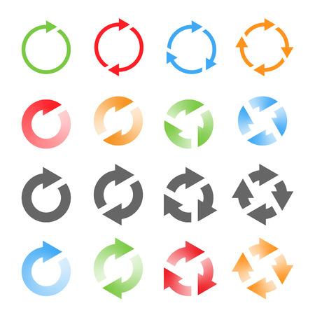 Rotierende Arrows Set. Aktualisieren, neu laden, recyceln Zeichen. Vektor-Illustration Illustration