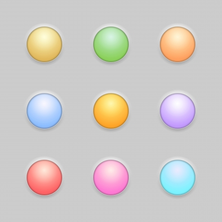 Round Button Template Set. Vector
