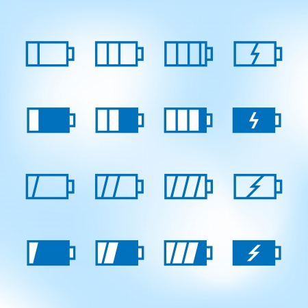 Thin Icon Set. Battery Charge Level. Vector Vector