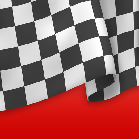 Checkered Flag Background. Card Template. Vector Illustration
