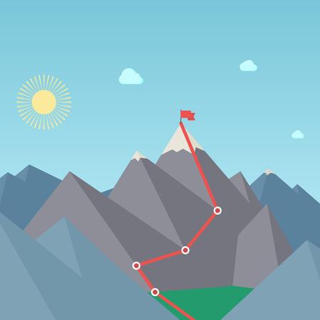 Horolezectví trasy. Dosažení cíle Concept. Vektor Ilustrace