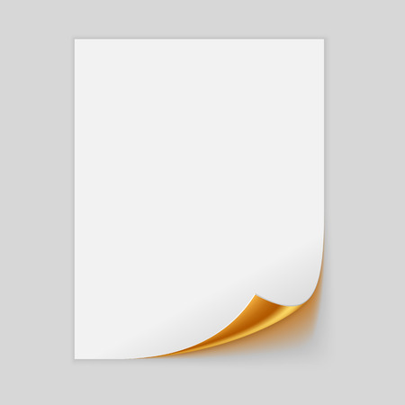 foil roll: Paper Sheet With Golden Curled Corner. Vector