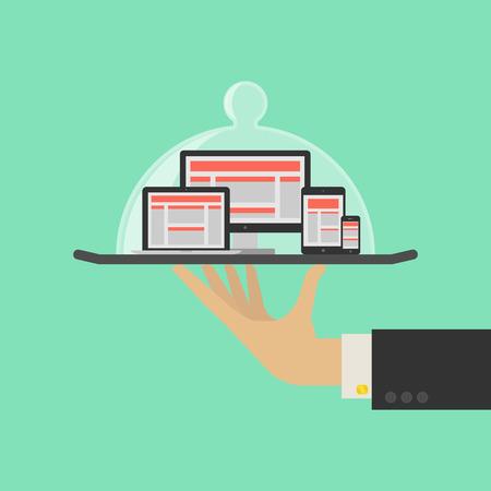 Responsive Web-Design-Service-Konzept. Vektor Illustration