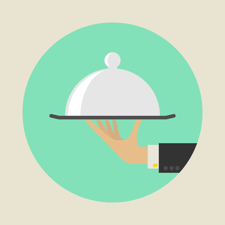 butler: Service Concept. Flat Style. Vector Illustration Illustration