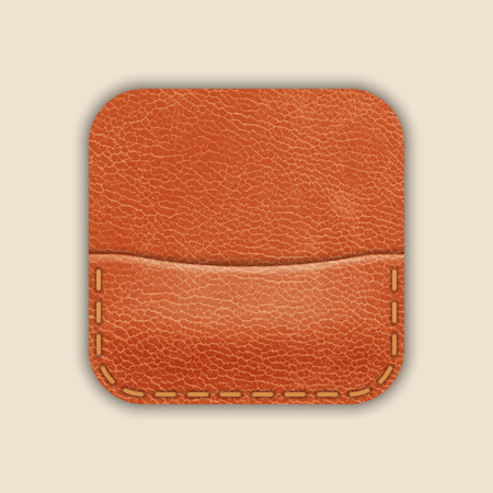 empty wallet: Natural Leather Pocket Or Wallet. App Icon Template. Vector Illustration