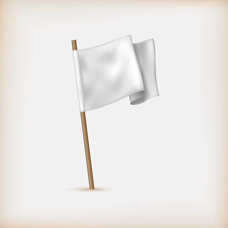 surrender: Realistic White Flag Icon. Surrender Concept. Banner Template. Vector