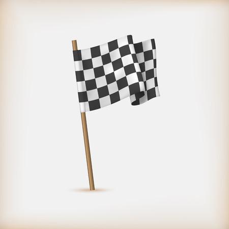 Realistic Checkered Racing Flag. Vector Ilustração