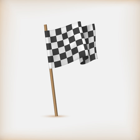 Realistic Checkered Racing Flag. Vector Vettoriali