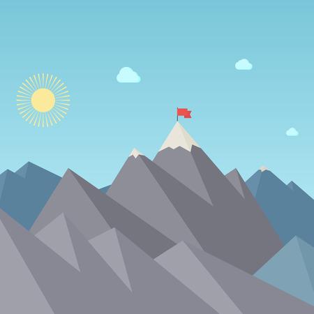 mountain cartoon: Flag On The Mountain Peak. Goal Achievement. Vector