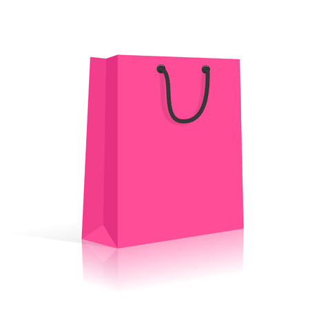 Blank Shopping Bag With Rope Handles. Pink Black. Vector Vector