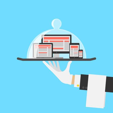 charolas: Computer Shop O Responsive Web Design Concept Servicio. Vector