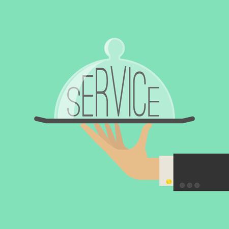 mesero: Concepto de servicio. Plano Estilo. Ilustraci�n vectorial
