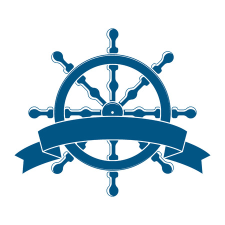 helm boat: Rueda de la nave con la bandera. Emblema Náutico. Vector Vectores