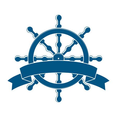 Schip Wiel Met Banner. Nautische Emblem. Vector