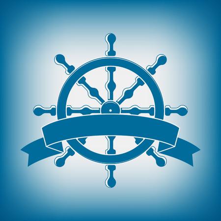 Roue de bateau avec la bannière. Emblème nautique. Vecteur