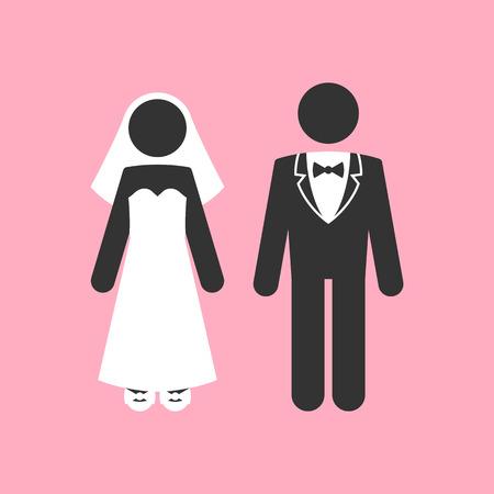 Hochzeitspaar. Ehe Einladungs-Schablone. Vektor Illustration