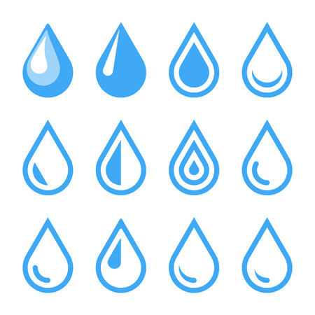 droplet: Water Drop Emblem. Logo Template. Icon Set. Vector.