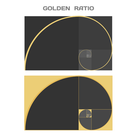 golden: Business Card Template. Golden Ratio. Divine Proportion. Ideal Section. Vector.