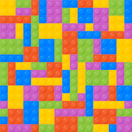 balanced: Seamless Pattern. Plastic Constructor Bricks. Balanced, Same Amount Of Each Color. Easy To Recolor. Bricks Of Each Color Are Grouped. Five Colors. Background. Vector.