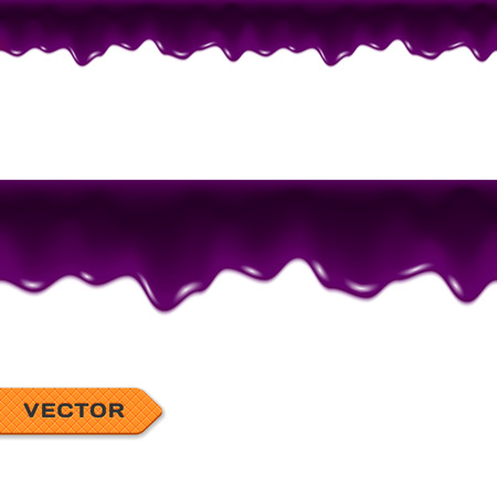 dripping: Blueberry Jam Drips. Seamless Border. Vector.