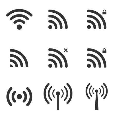 Conjunto de Wi-Fi e ícones sem fio. Entrar Zona WiFi. Acesso remoto e rádio símbolos Waves Comunicação. Vetor. Ilustração