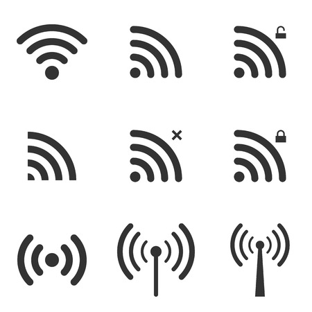 symbol: Insieme Di Wi-Fi e Icone senza fili. Segno WiFi Zone. Accesso remoto e radio Simboli Onde Comunicazione. Vettore.