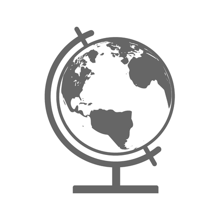 Earth Globe Emblem. Vector Icon