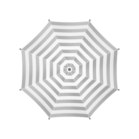 view template: White Umbrella With Gray Stripes. Top View. Template For Your Design. Isolated On White Background. Vector. Illustration
