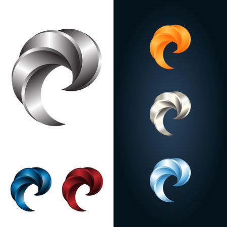 red swirl: Logo Or Emblem Template. Metal Claw. Vector Icon. Illustration