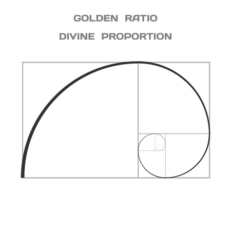 extreme science: Golden Ratio. Divine Proportion. Ideal Section. Vector.
