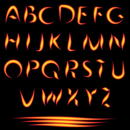 burning alphabet: Fire Letters. Burning Font. Glowing Alphabet. Vector. No Mesh Used. Illustration