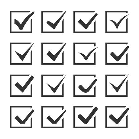 Controleer Dozen met Ticks. Reeks van zestien Icons. Vector.