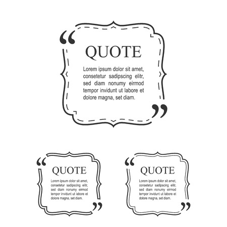 citing: Quote Template In Vintage Frame Set. Decorative Quotation Collection. Vector. Illustration