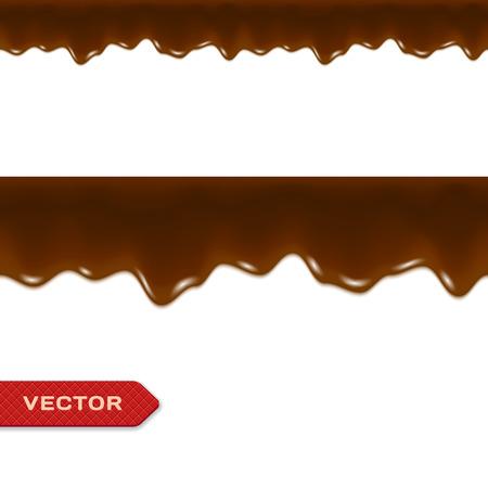 Gesmolten Chocolade Druppels. Naadloze Border. Vector.