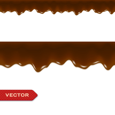 hot chocolate drink: Melted Chocolate Drips. Seamless Border. Vector. Illustration