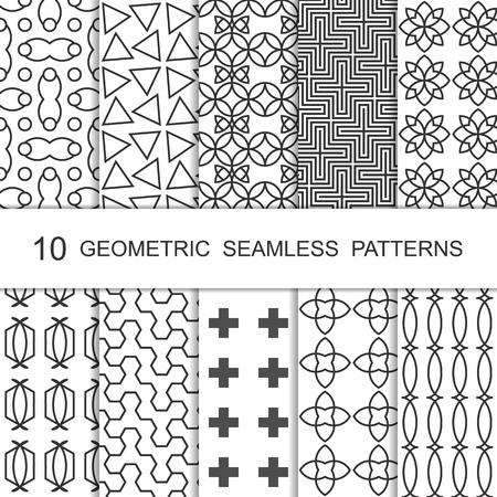 Seamless Geometric Pattern Set. Ten Tiled Ornaments. Vector.