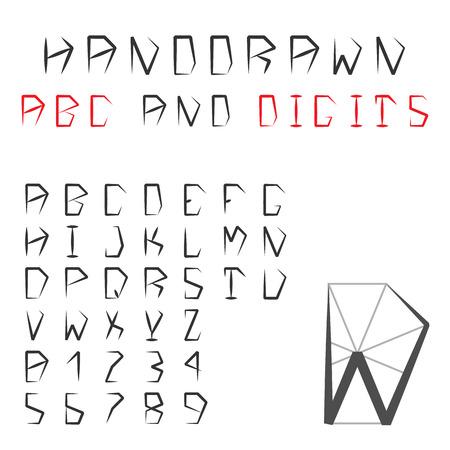 pentagonal: Hand Drawn Alphabet And Digits. Pentagonal Geometric Font. ABC. Vector. Illustration