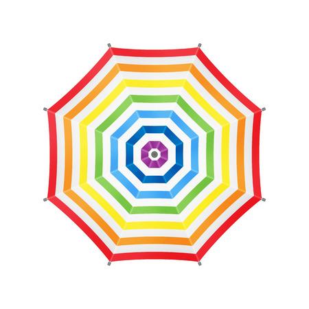 Paraguas blanco con rayas del arco iris. Vista superior. Plantilla para su diseño. Aislado en el fondo blanco. Vector. Foto de archivo - 49390663