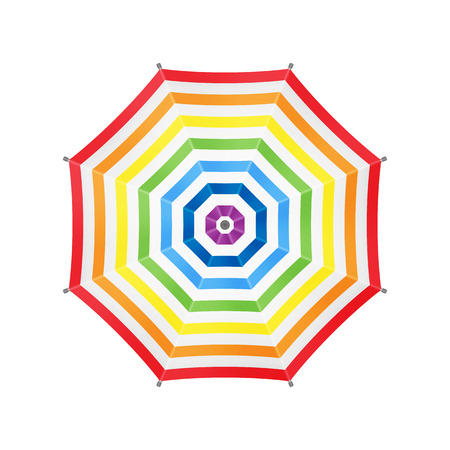 rainbow umbrella: White Umbrella With Rainbow Stripes. Top View. Template For Your Design. Isolated On White Background. Vector.