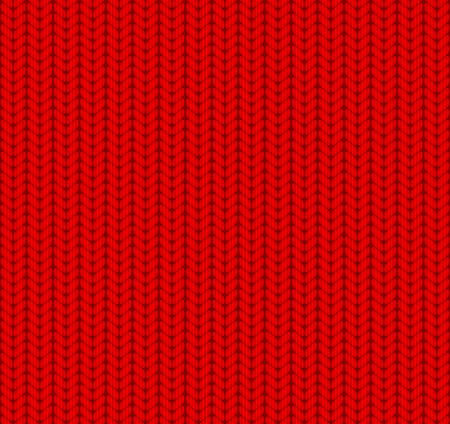 knitted fabrics: Knitted Seamless Pattern. Red. Vector.