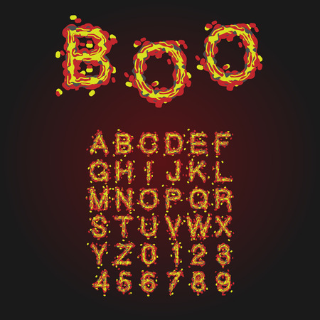 slime: Halloween Style Typeface. Uppercase Letters And Numbers. Latin Alphabet. Rot, Blood Spots, Slime. Vector.