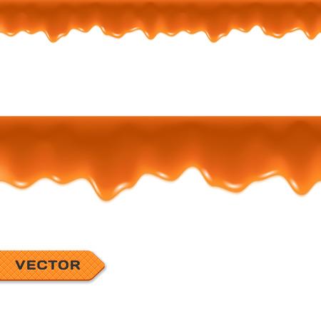 Toffee. Caramel Drips. Seamless Border. Vector.