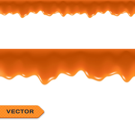 drips: Toffee. Caramel Drips. Seamless Border. Vector.