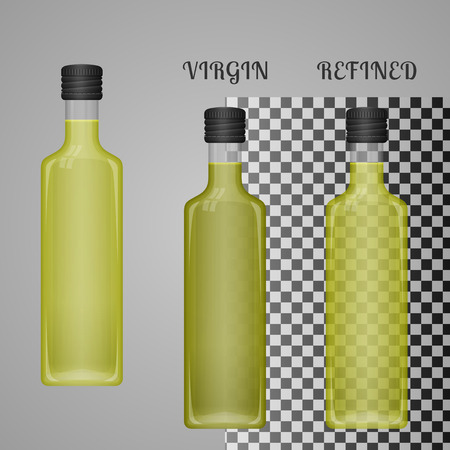 closeup: Realistic Olive Oil Bottle Mockup With Transparent Glass And Liquid. Virgin And Refined Oil. Blank Packaging Template. Vector.