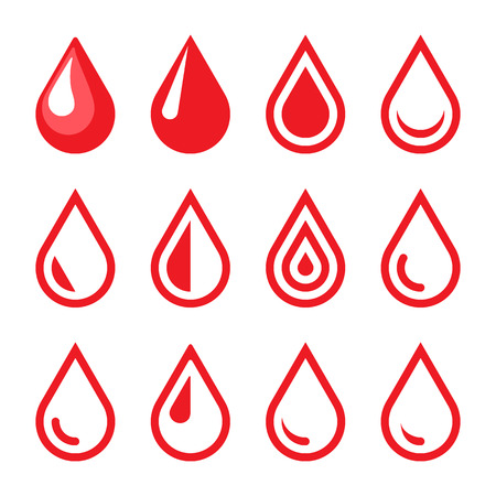 clean blood: Blood Drop Emblem. Logo Template. Icon Set. Vector.