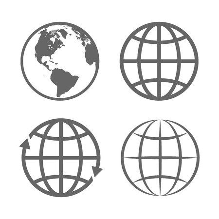 globo terraqueo: Globo de la tierra del emblema. Plantilla de logotipo. Conjunto de iconos. Vector. Vectores