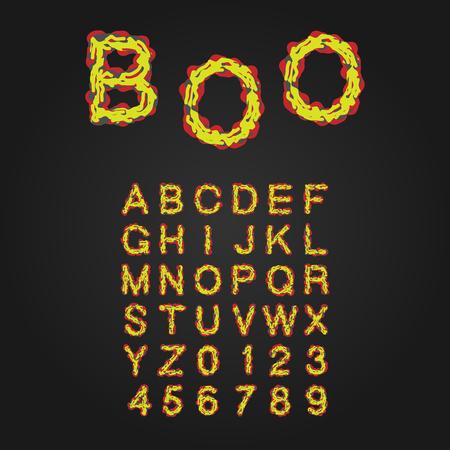 pus: Halloween Style Carattere tipografico. Lettere maiuscole e numeri. Alfabeto latino. Rot, Sangue, Slime. Vettore.