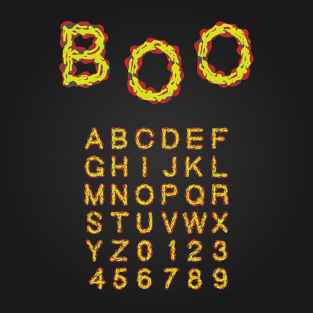 rot: Halloween Style Typeface. Uppercase Letters And Numbers. Latin Alphabet. Rot, Blood, Slime. Vector.