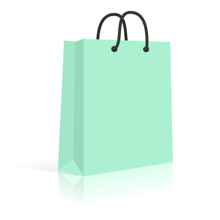 fashion design: Blank Paper Shopping Bag With Rope Handles. Mint. Vector.