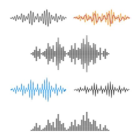 波形です。サウンド ウェーブ。オーディオ波グラフのセット。ベクトル。